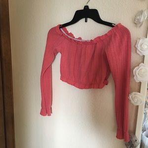 Tops - Pink long sleeve crop top